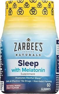 Zarbee's Naturals Adult Sleep with Melatonin Supplement, Natural Mixed Fruit Flavor, 60 Gummies