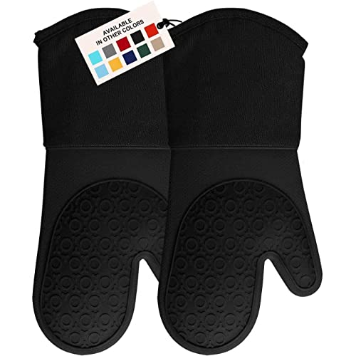 HOMWE Silicone Oven Mitt, Oven Mitts with Quilted Liner, Heat Resistant Pot Holders, Slip Resistant Flexible Oven Gloves, Black, 1 Pair, 13.7 Inch
