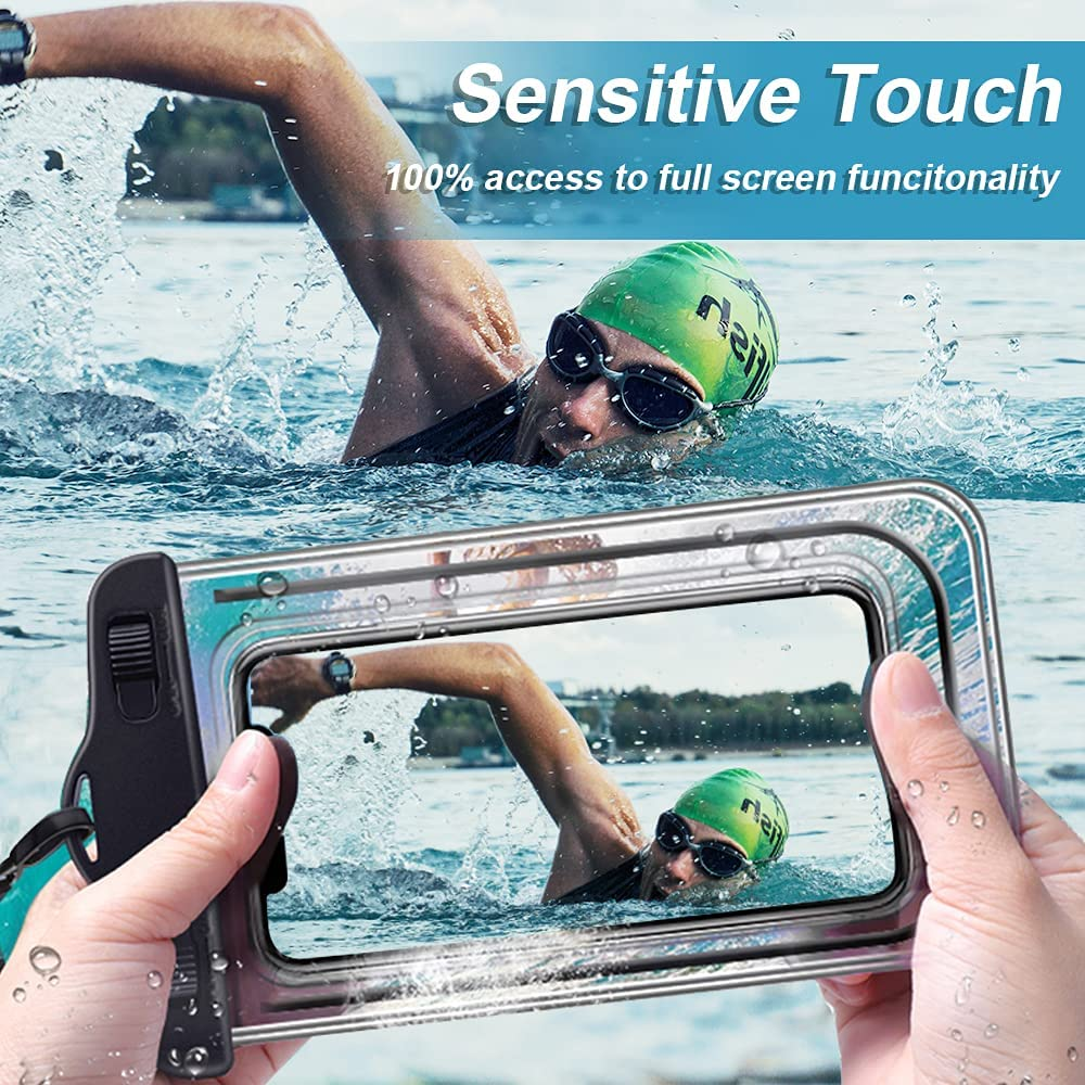 Waterproof Phone Case Pouch, Clear Transparency Cellphone Dry Bag Outdoor Beach Swimming Phone Pocket for Smartphone Under 8 Inches (Orange Purple Black and White)