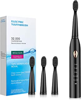 Electric Toothbrush for Adults with Powerful Sonic Cleaning - Whitening Toothbrushes with Smart Timer, 5 Modes, 4 Brush He...