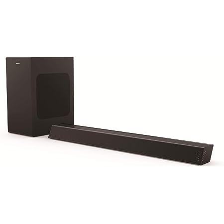 Philips B7305/10 Barra de Sonido TV con Subwoofer Inalámbrico (2.1 Canales, 300 W de Potencia, Bluetooth, Dolby Audio, HDMI ARC, Diseño Geométrico con Soporte Montaje en Pared) Modelo 2020/2021