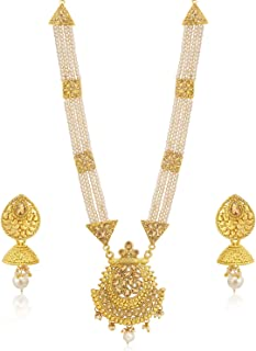Sukkhi Luxurious LCT Gold Plated Wedding Jewellery Pearl Long Haram Necklace Set For Women (N83780)