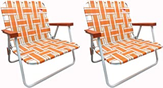 Outdoor Spectator (2-Pack) Low Back Reinforced Steel Powder Coated Webbed Folding Lawn/Camp/Beach Chair (Orange)