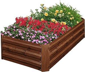 Outdoor Patio Galvanized Steel Raised Garden Bed Kit-Metal Rectangle Garden Planter Box for Vegetables, Flowers, Herbs,Succulents