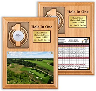Eureka Golf Products Hole-in-One Ball and Scorecard or Photo Plaque with Free Engraved Plate