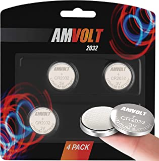 4 Pack AmVolt CR2032 Battery 220mAh 3 Volt Lithium Battery Coin Button Cell 2023 Expiry Date