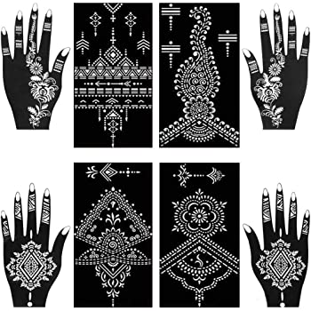 Amazon Com Henna Tattoo Stencils Kit Henna Paste Cones Stencils Hand Body Art Design Stencils 8 Sheets Indian Temporary Tattoos Stencils Self Adhesive Glitter Body Paint Stencils Reusable Beauty