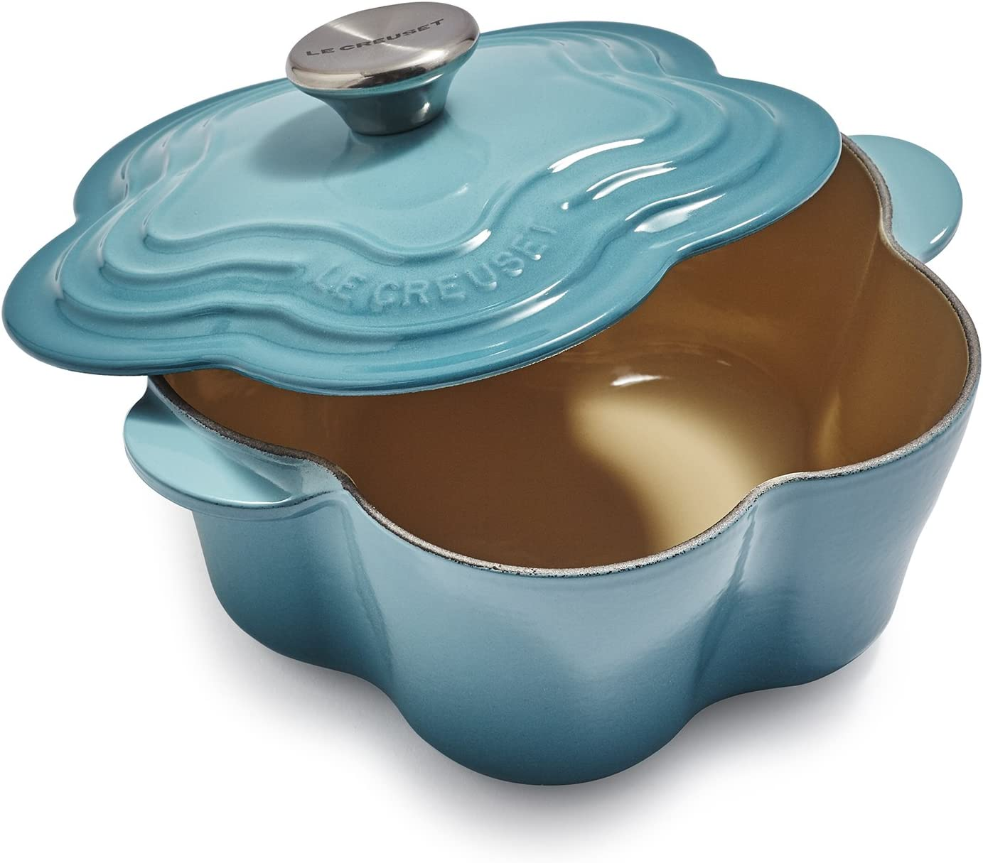 Le Creuset Enameled Cast Iron Stainless Selling and selling Cocotte With Flower Credence Stee