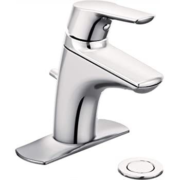 Chrome Moen 8437 Commercial M-Bition 4-Inch Centerset Lavatory Faucet with Drain 3-Inch Lever Handle 1.5-gpm