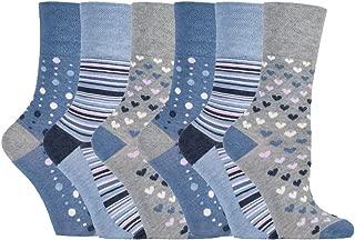 Gentle Grip - 6 Pack Womens Moisture Wicking Non Elastic Loose Top Bamboo Socks