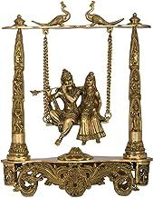 Radha Krishna on Peacock Swing - Brass Statue