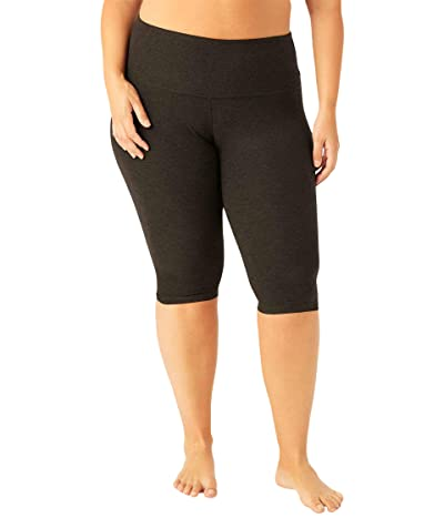 Beyond Yoga Plus Size High-Waisted Pedal Pusher Leggings (Darkest Night) Women