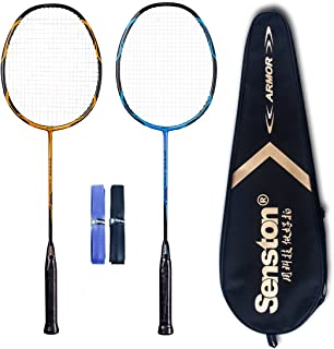 Senston - High Grade 2 Player Graphite Badminton Racket Set - Including 1 Badminton Bag/2 Rackets/2 Grip