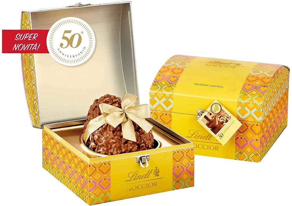 Lindt & sprungli uovo pasqua noccior, cioccolata latte nocciole igp, 510g lindt bauletto edizione limita