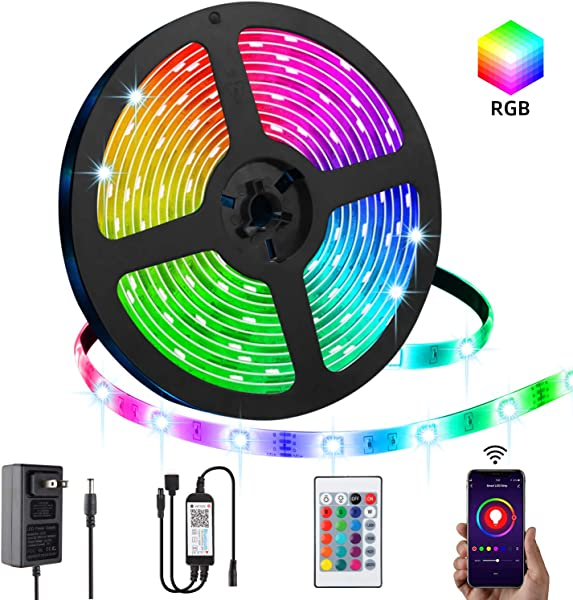 LED Strip Lights LPENG 5m RGB Rope Lights 16 4ft 5050 SMD Color Changing Lights With APP Controller Sync To Music Apply For Home Kitchen Bedroom Party TV Decoration