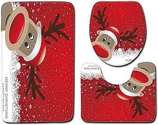 Guo Nuoen 3Pcs Carpet Bathroom Supplies Antiskid Mat Home Decor Toilet Floor Door Santa Claus Print Reindeer Snowman