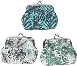 FENICAL 3 unids patrón de hoja de palma beso de bloqueo monederos monederos cambio monederos pequeños bolsos de embrague t...