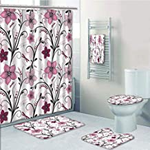 Bathroom 5 Piece Set Shower Curtain 3D Print,Dragonfly,Shabby Chic Floral Swirled Leaves and Florets Artistic Illustration,Light Pink Dried Rose,Bath Mat,Bathroom Carpet Rug,Non-Slip,Bath Towls