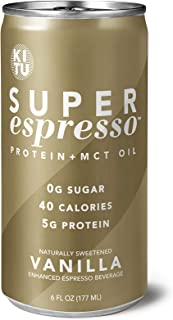 Kitu by SUNNIVA Vanilla Super Espresso with Protein and MCT Oil, Keto Approved, 0g Sugar, 5g Protein, 40 Calories, 6 fl. oz, Pack of 12 - coolthings.us