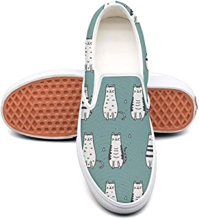 Vintage Cats Meow Girls Flat Skate Sneaker for Womens Skid-Proof Budge Leather Shoe