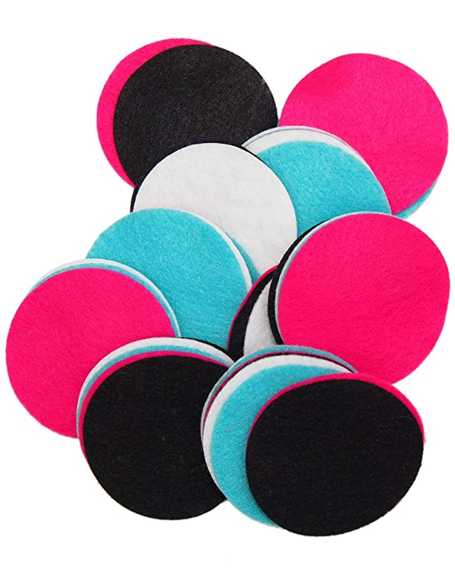 Playfully Ever After 2.5 Inch 48pc Felt Circles Color Combo Pack with Black, Pink, Turquoise, White