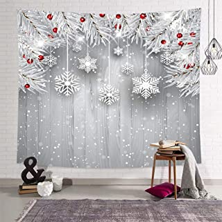 DEQI Christmas Tapestry Wall Hanging Xmas White Snowflakes Leaves Board Wall Tapestry for Party Livingroom Bedroom Dorm Home Decor W90 x L71