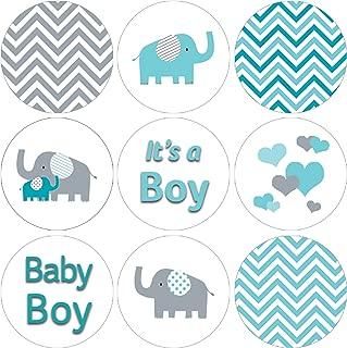 Teal Blue Elephant Boy Baby Shower Favor Stickers - 180 Labels