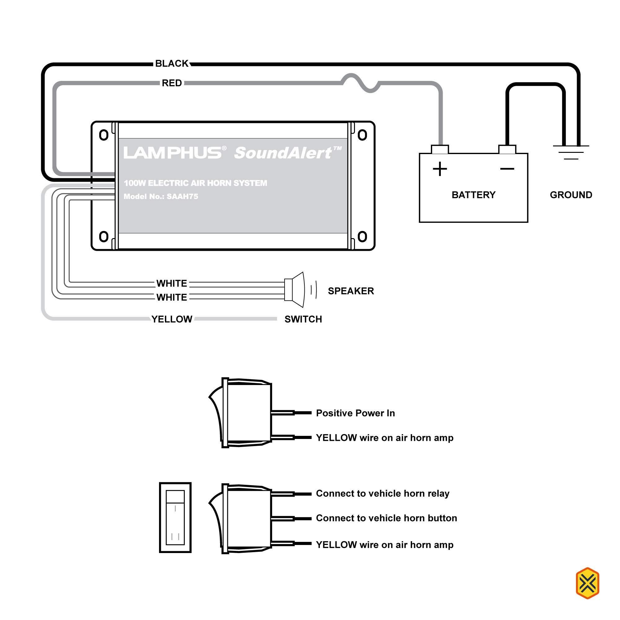 amazon.com: lamphus soundalert 12v 100w electric police air horn ... kleinn air horn wiring diagram train horn wiring diagram with relay amazon.com