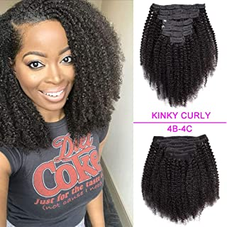 Afro Kinky Curly Clip In Hair Extensions Brazilian Virgin Hair 4B 4C Afro Kinky Curly Clip Ins 7pcs Kinky Curly Clip In Human Hair Extensions For Black Women Double Weft 70gram-12inch, Natural Color