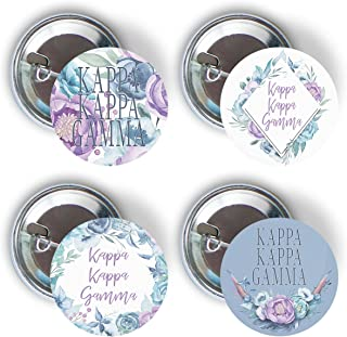 Kappa Kappa Gamma Sorority Purple Floral Variety Pack of Buttons Pin Back Badge 2.25-inch kkg
