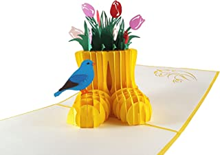 iGifts and Cards Rain Boot Flower Arrangement 3D Pop up Greeting Card - Elegant, Flowers, Decor, Warm, Half-Fold, Birthday, Just Because, Thinking of You, Retirement, Get Well, Congratulations, BFF