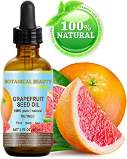 Botanical Beauty GRAPEFRUIT SEED OIL. 100% Pure Natural Undiluted Refined COLD PRESSED CARRIER OIL (NOT ESSENTIAL OIL). 2 ...