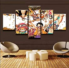 Painting poster wall art frame photo 5 panel anime one piece character cheering canvas artwork picture decorating kids room