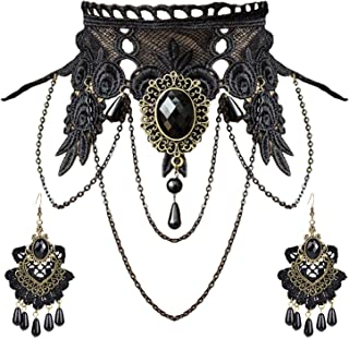 Punk Style Wedding Party Black Lace Choker Beads Tassels Chain Pendant Necklace Earring Set for Women