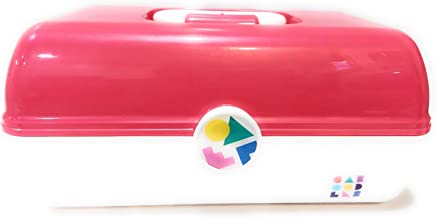 Caboodles On The Go Girl Makeup Cosmetic Case Retro Look (pink over white)