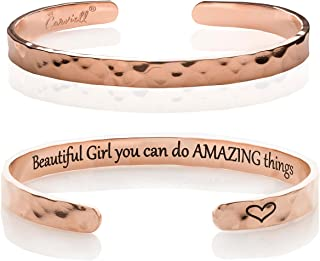 Carviell Bracelets for Women, Personalized Gifts for Her, Mom, Best Friend, Inspirational Friendship Cuff for Teen Girls, ...