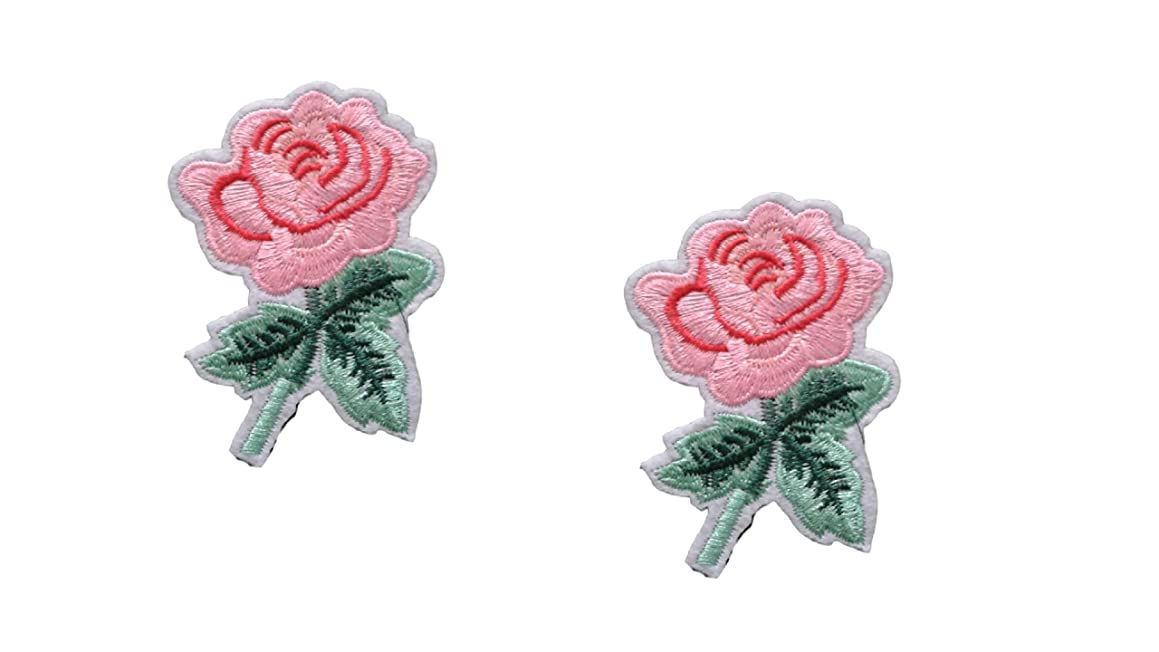 2 pieces ROSE Iron On Patch Fabric Applique Flower Motif Children Decal 2.2 X 2 inches (5.8 x 5 cm)
