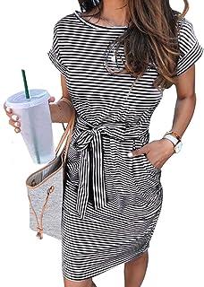MEROKEETY Women's Summer Striped Short Sleeve T Shirt Dress Casual Tie Waist with Pockets