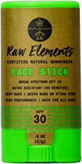Raw Elements Face Stick Certified Natural Sunscreen   Non-Nano Zinc Oxide, 95% Organic, Very Water Resistant, Reef Safe, N...