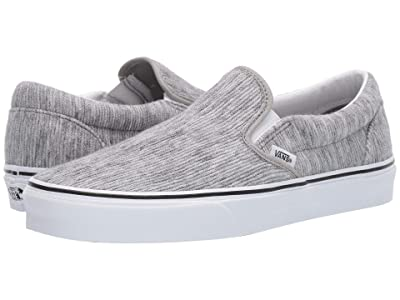 Vans Classic Slip-Ontm ((Rib Knit) Gray/True White) Skate Shoes