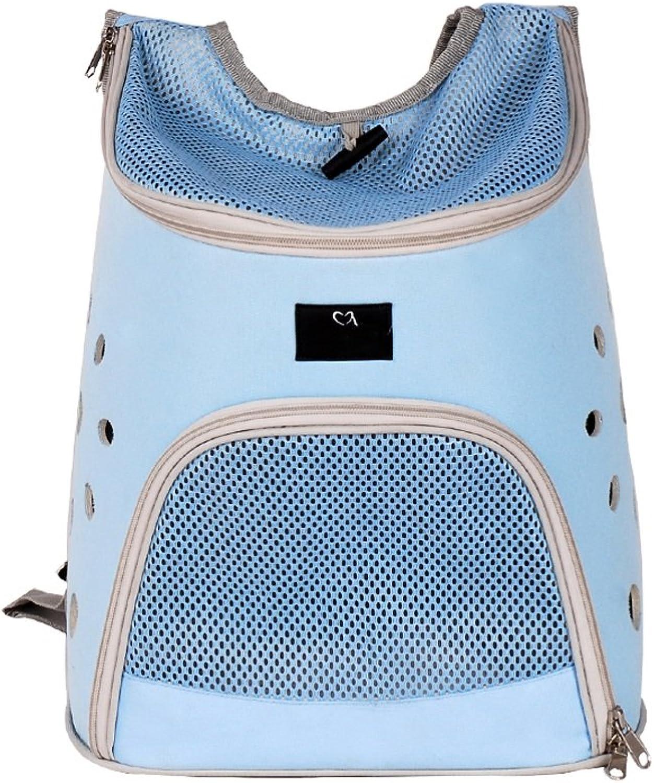 Pet Backpack bluee Pet Carrier Backpack Breathable Double Shoulder Bag Hiking Outdoor Sports Portable Front Back Breathable Mesh Window Backbag for Traveling Beds