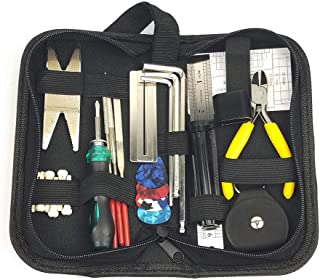 Guitar Repair Tool Kit, Guitar Setup Accessories Included Wire Plier,String Organizer,Fingerboard Protector,Files,String Ruler Action Ruler,Spanner Wrench,Bridge Pins for Guitar Ukulele Bass Mandolin