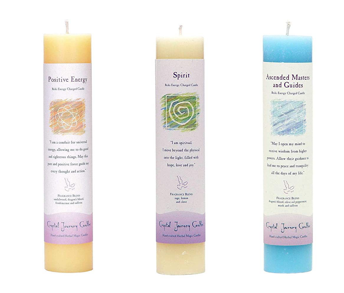 過去滅多水素(Ascended Masters and Guides, Spirit, Positive Energy) - Crystal Journey Reiki Charged Herbal Magic Pillar Candle Bundle (Ascended Masters and Guides, Spirit, Positive Energy)
