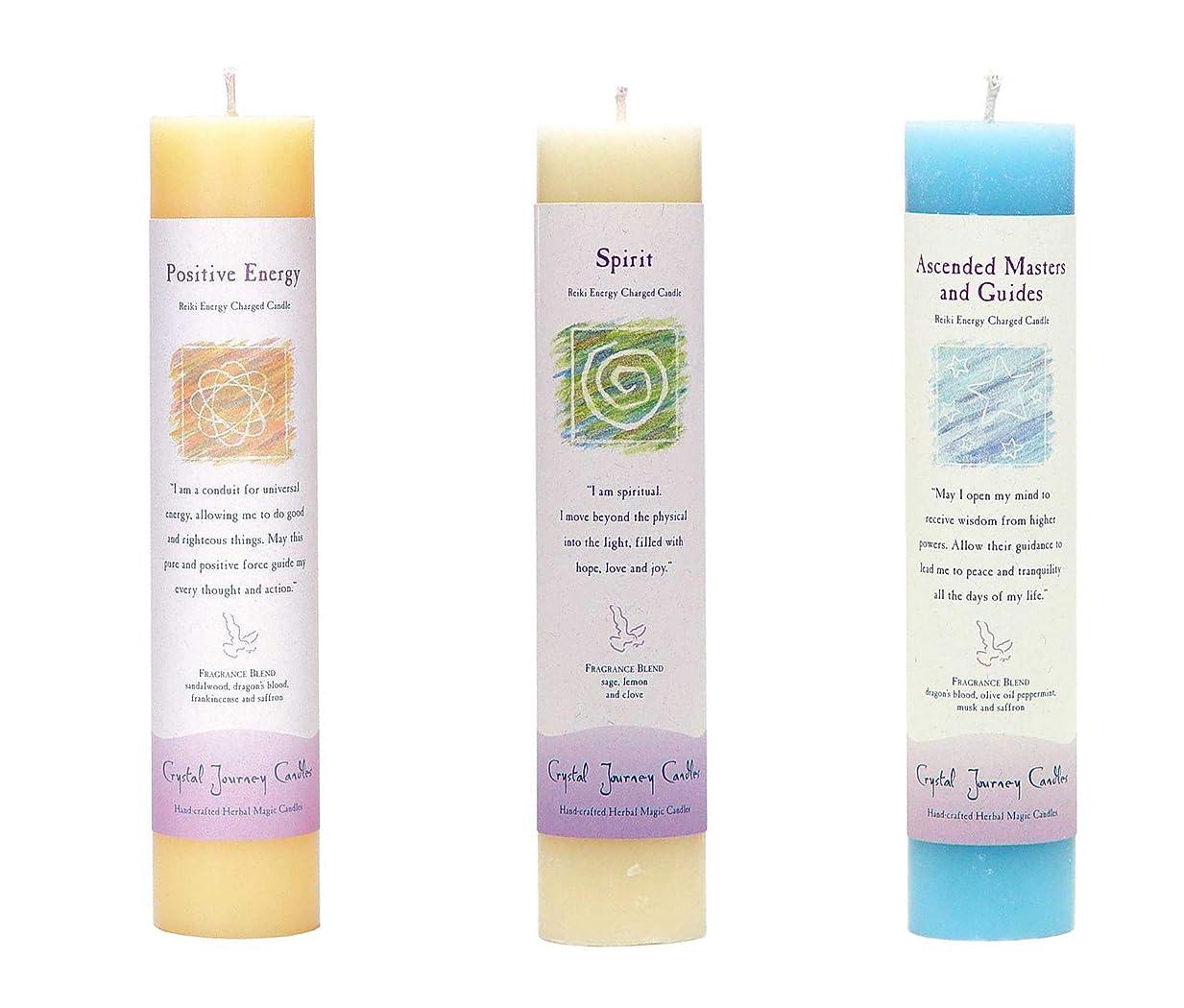 計画小競り合い船(Ascended Masters and Guides, Spirit, Positive Energy) - Crystal Journey Reiki Charged Herbal Magic Pillar Candle Bundle (Ascended Masters and Guides, Spirit, Positive Energy)
