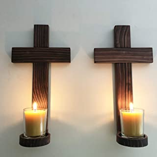 Hand Crafted Wooden Wall Crosses Votive Candle Holders, Set of 2