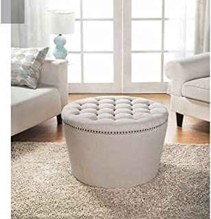 Better Homes and Gardens Round Tufted Storage Ottoman with Nailheads (Cream)