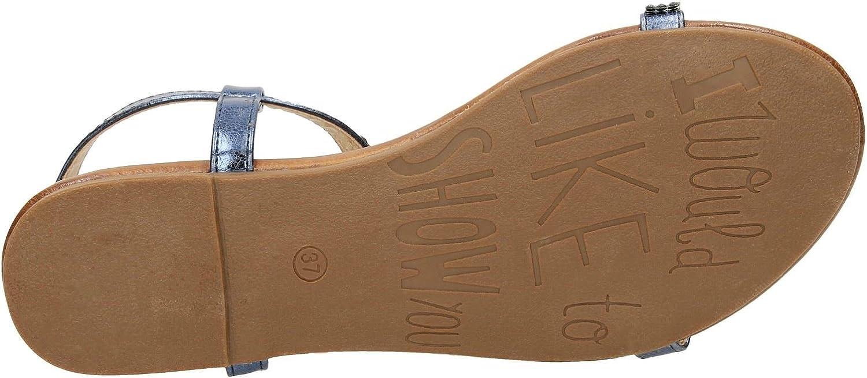 Spot On Ladies Flat Diamante T-Bar Sandals