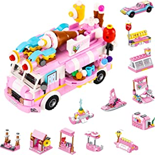 MILESTAR Girls Building Blocks Toys Set 553 PCS Ice Cream Truck 25 Models Excellent Gift for Kids Age 6-12 and Up