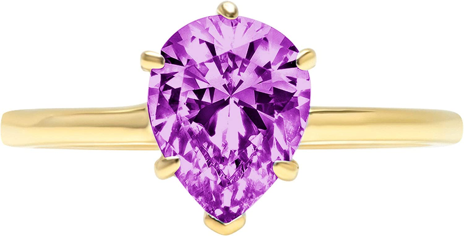 2.0 ct Brilliant Pear Cut Solitaire Flawless Simulated CZ Purple Alexandrite Ideal VVS1 6-Prong Engagement Wedding Bridal Promise Anniversary Designer Ring Solid 14k Yellow Gold for Women