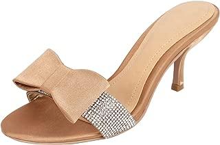 Catwalk Women's Bow Detail Glitter Slip Ons